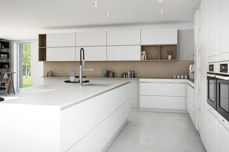 White kitchen but with pale blue splashback