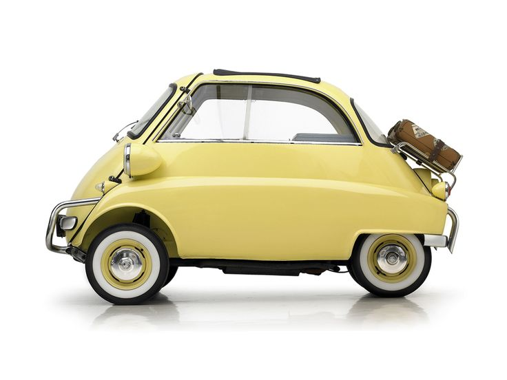 "Nicknamed the ""rolling egg"", the BMW 250, 300, 600 and Isetta cars (1956-62) were designed at a time when cheap, short distance transportation was needed. The sales of this car are credited with saving the company in post WWII Germany. The Isetta has a one-cylinder BMW motorcycle engine with a 4-speed transmission. The top speed is 53 mph, and it gets 63 miles per gallon."