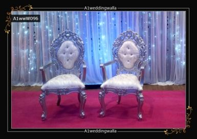 Browse here for royal style wedding chair. For booking call us at 7958 330043. #WeddingChair #RoyalChair #WeddingStageDecoration #EngagementChair