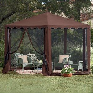 Brylanehome New And Improved Waterproof 13'W Hexagon Gazebo by BrylaneHome. $139.99. Perfect for sunny backyards, our New and Improved Hexagon Gazebo lets your enjoy the touch of nature you want from the outdoors with the shelter you need. Its heavy-gauge tubular steel frame and waterproof PVC coated canvas canopy allow this piece of outdoor furniture to stand up to the elements at an affordable price. Set up some of our patio furniture under its nearly 9 foot high canop...