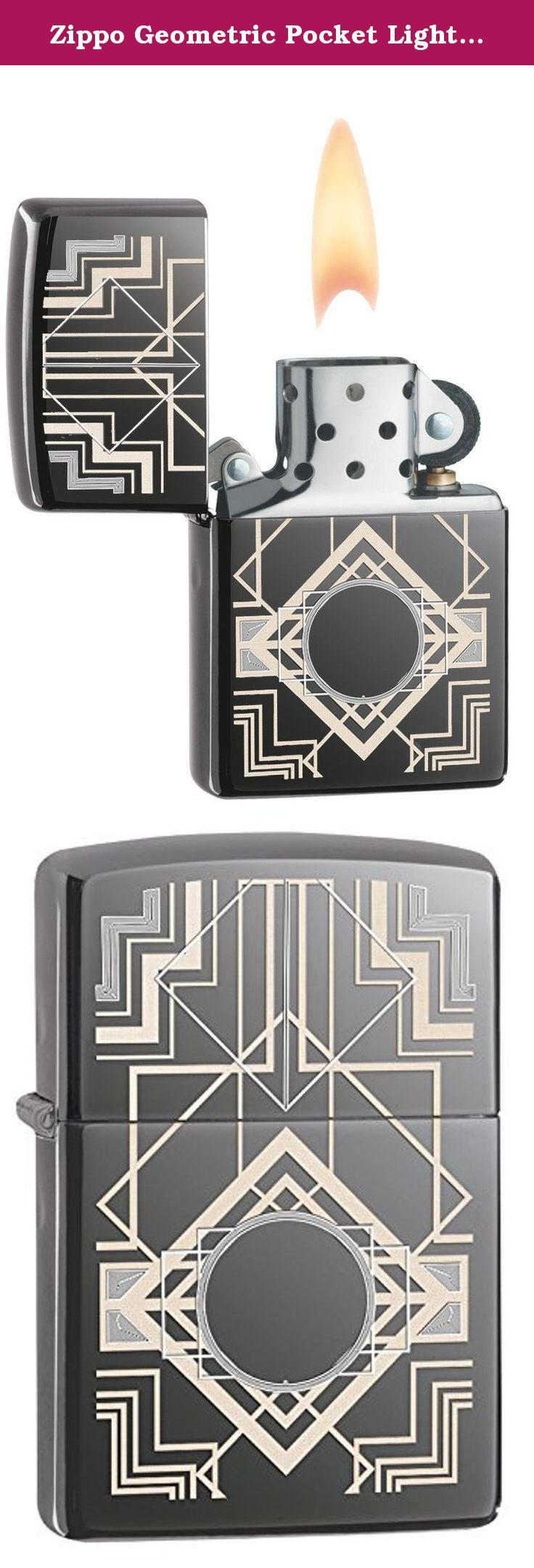 Zippo Geometric Pocket Lighter, Black Ice. Two kinds of engraving are used to give this art deco design a unique tone and texture. Comes packaged in an gift box. For optimal performance, use with Zippo premium lighter fluid.; for optimum performance of every Zippo windproof lighter, we recommend genuine Zippo premium lighter fluid, flints, and wicks.