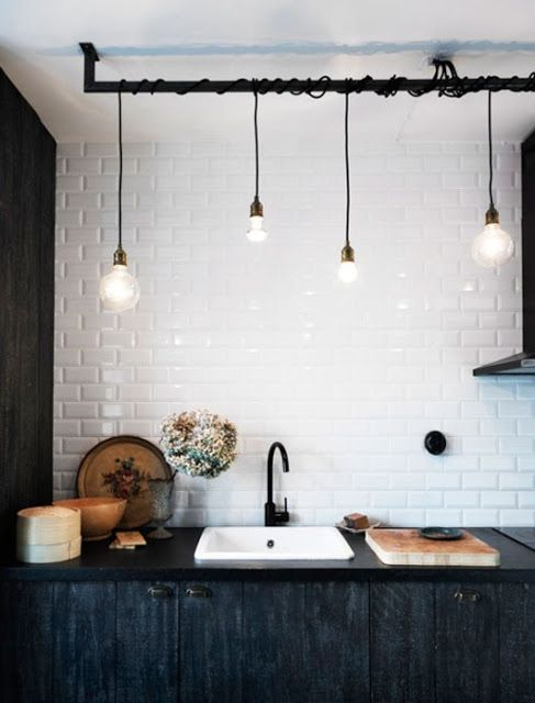 Industrial Kitchen - Subway Tiles, pendant lights, create drama with contrasting black and white