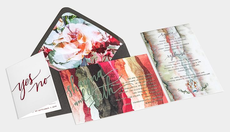 Linen & Leather Monogramed Folio / Artful Prints / Sage & Cranberry Metallic Foils / Charcoal Envelope with Floral Liner / Anne Robin Calligraphy / Bliss & Bone