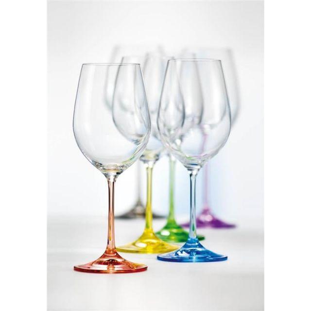 Komplet kolorowych kieliszków do wina Rainbow Crystalex