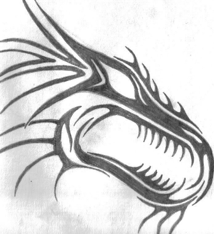 How To Draw A Tribal Dragon Head