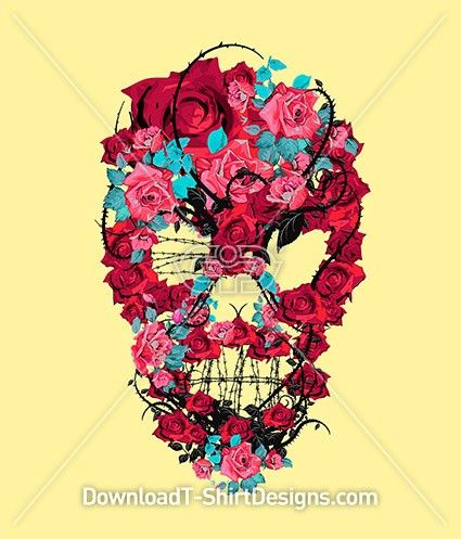 Rose Thorns Barb Wire Skull. Download this design & print on your T-Shirts or products today