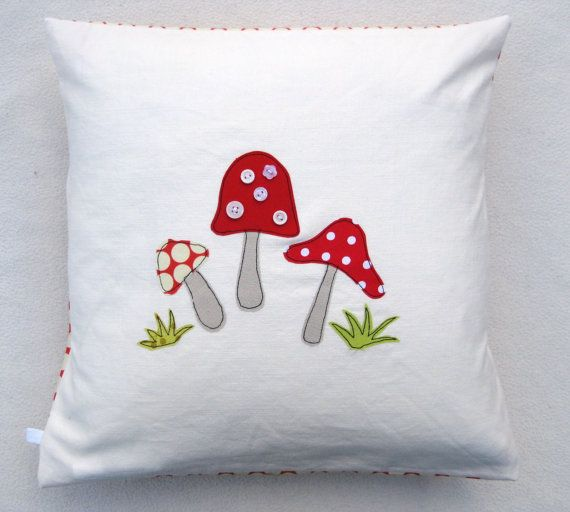 Toadstool cushion cover  mushrooms red and white by tailorbirds, $35.00