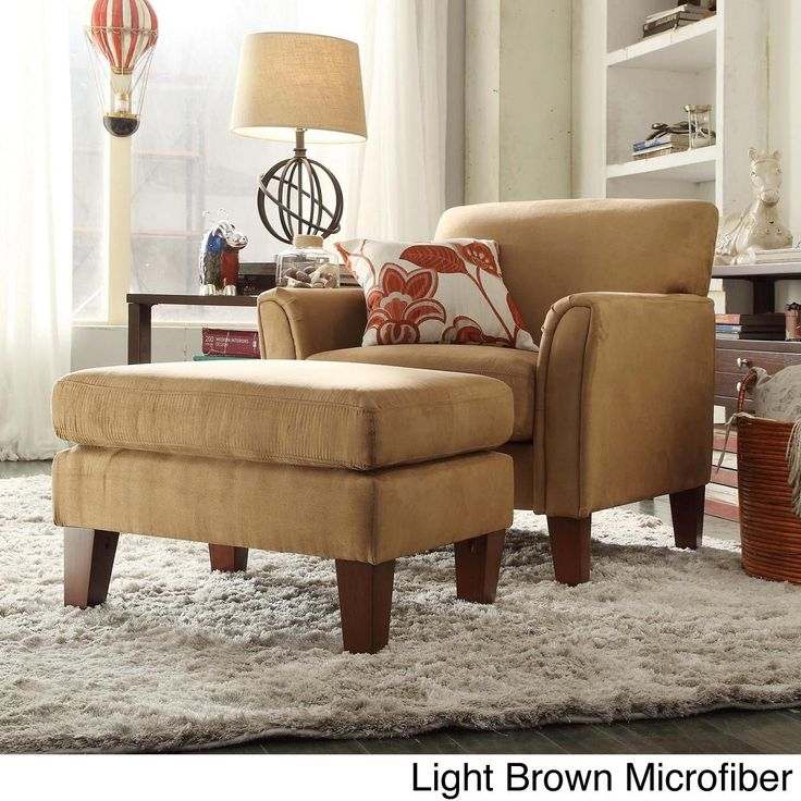 Tribecca Home Uptown Modern Accent Chair And Ottoman (Dark Brown Faux  Leather) (Linen)