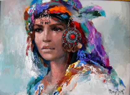 By Remzi Iren  Ege-Yörük Head-dress painting