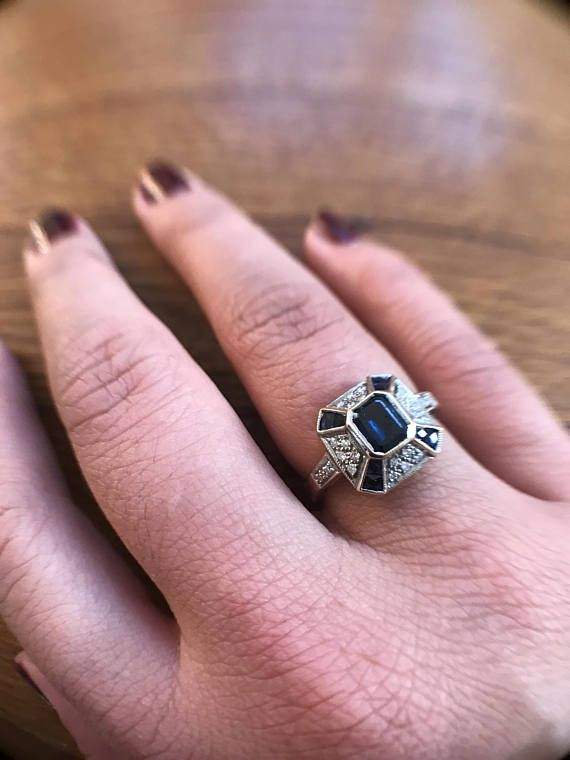 Antique Sapphire Ring | Vintage Sapphire Engagement Ring | 18K Gold Diamond Engagement Ring