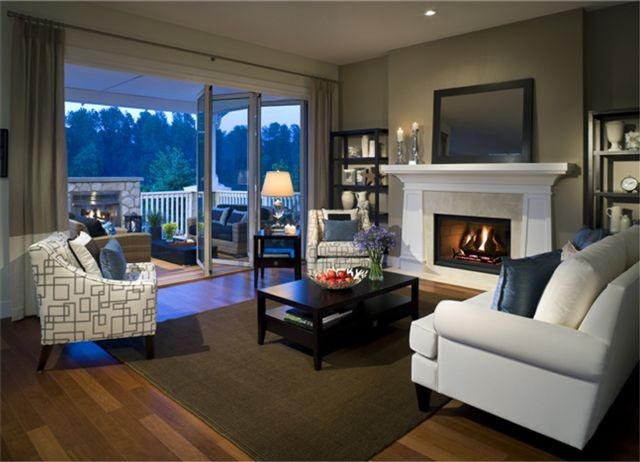 Show home family room at Bedford Landing in Langley by Parklane homes.