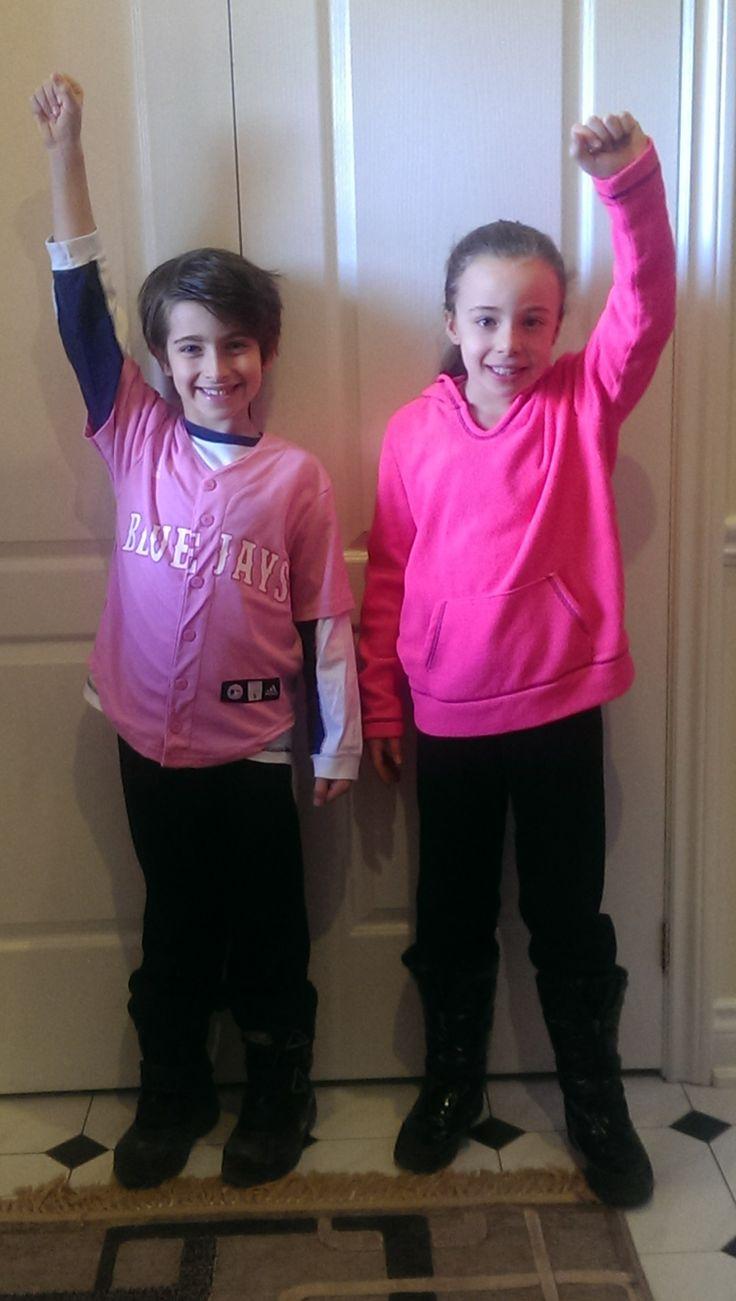 Kids supporting anti-bullying day at school! #pinkshirtday #antibullying #ptpapink