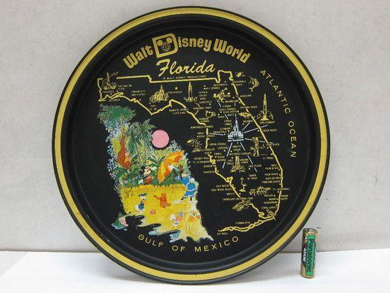A92GA 蔵出し品 アメリカ フロリダ ウォルト ディズニー ワールド  マップ 地図 トレー トレイ お盆 アンティーク 骨董品 レア