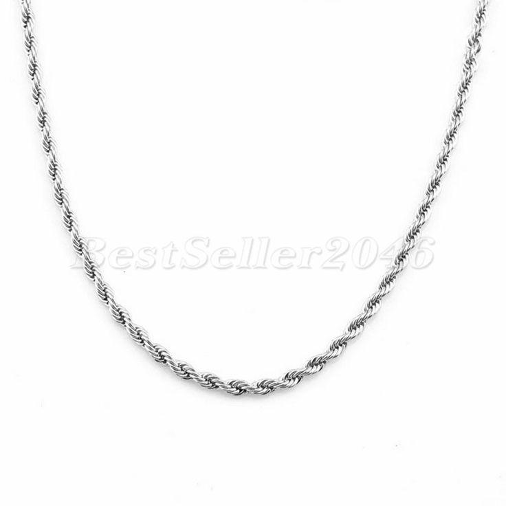 Edelstahl Halskette Kette für Damen & Herren, Kettenlänge 45cm bis 90cm