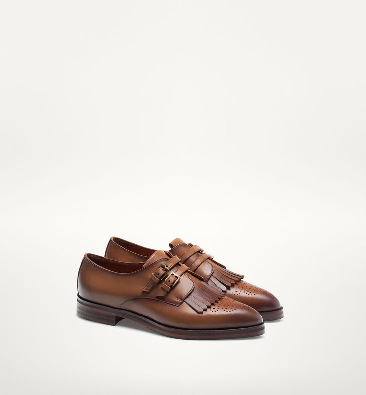 Leather Monk Shoes by Massimo Dutti