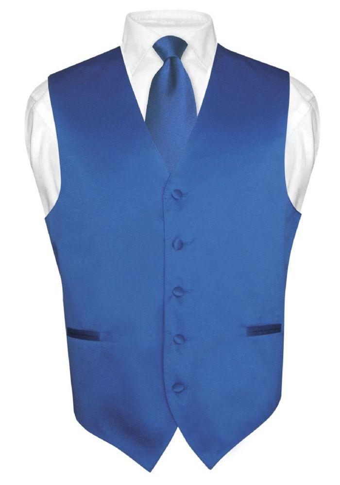 Men's & Boys ROYAL BLUE Tie Dress Vest and NeckTie Set for Suit or Tuxedo