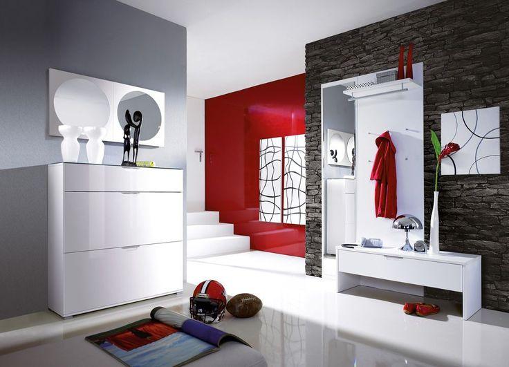 Garderobenset in Weiß Hochglanz   Pharao24.de - Wunderschön und absolut modern sind die Flurmöbel in Hochglanz Weiß. Sie können alle Möbel auch einzeln bekommen bei Pharao24. Einfach eine schöne Einrichtungsidee für die Diele. Hier finden: http://www.pharao24.de/garderobenset-weiss-benja.html#pint