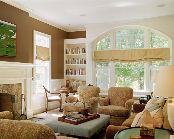 window valance ideas in Family Room Traditional with bookcase arched window