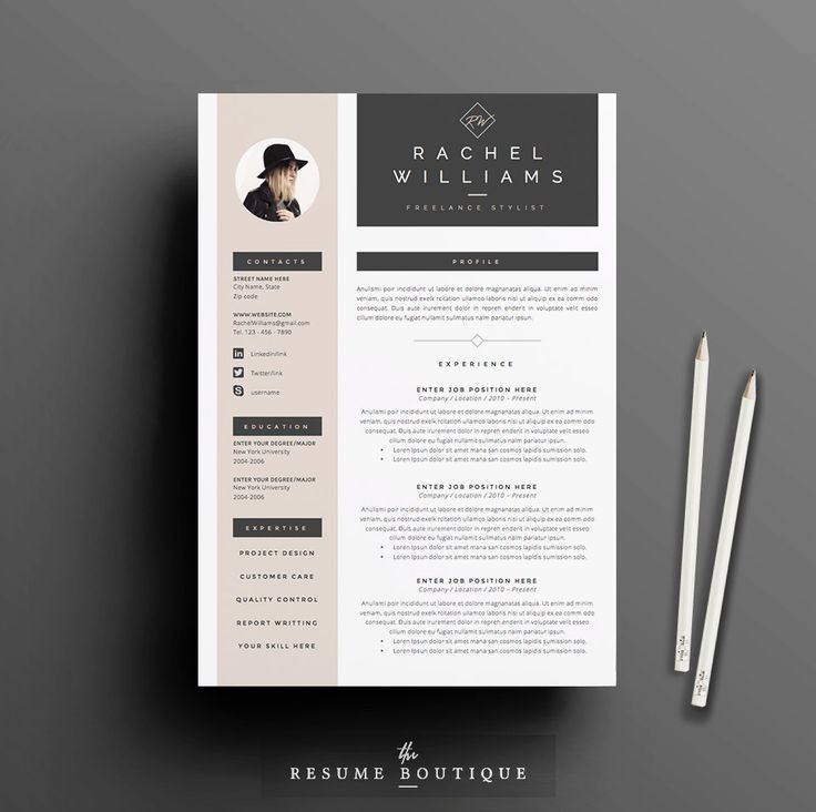 3page resume cv template cover letter for por theresumeboutique - How To Write Cover Letter For Resume