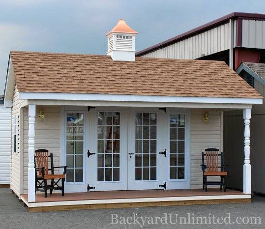 12'x16' Garden Shed with Vinyl Siding, 15-Lite Fiberglass Doors with SideLites, Porch with Turned Posts, and Norwood Cupola http://www.backyardunlimited.com/sheds.php
