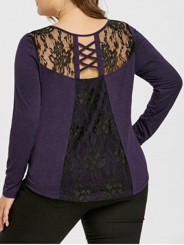 Plus Size Lace Inert Criss Cross V Neck Top