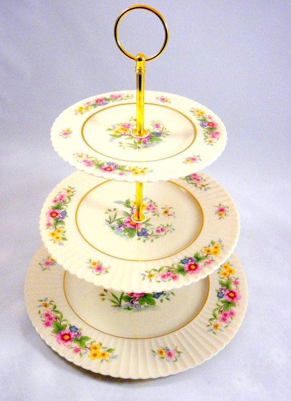 3 Tier Cake Stand Tiered Cake Stand Lenox Floral by DonnasTeaShop