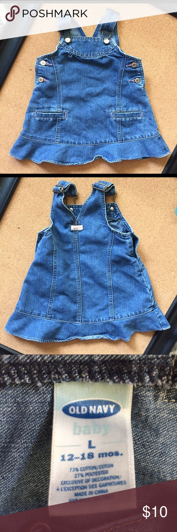 Old navy blue jean jumper skirt sz 18-24 mths Old navy blue jean jumper ruffle skirt. Perfect with boots this fall or with sandals in summer. Perfect for year round wear!! Sz 18-24 mths. Old Navy Dresses Casual