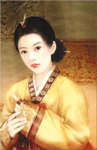 .The beauty of Brocade | this painting shows her  wearing a Korean Hanbok .