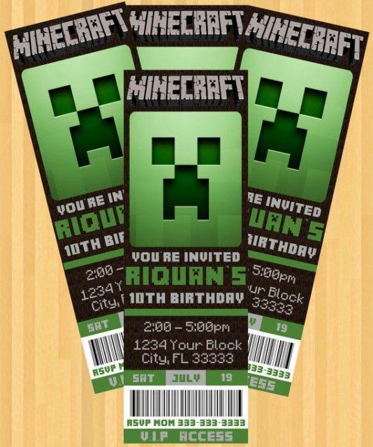 best 25+ minecraft invitations ideas on pinterest   minecraft, Party invitations