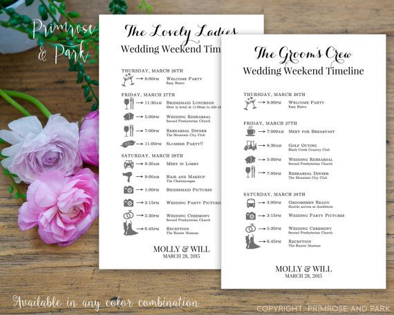 Best 25 wedding itinerary template ideas on pinterest wedding bridal party wedding timeline printed cards wedding itinerary schedule of events pronofoot35fo Choice Image