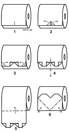 Heart toilet paper origami  Corazon Manera de doblar el final del papel higienico del baño