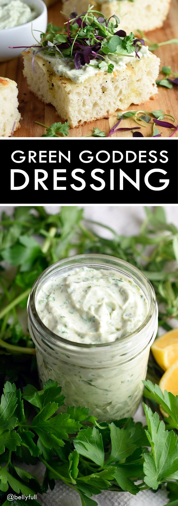 This Green Goddess Dressing on focaccia topped with micro greens makes ...