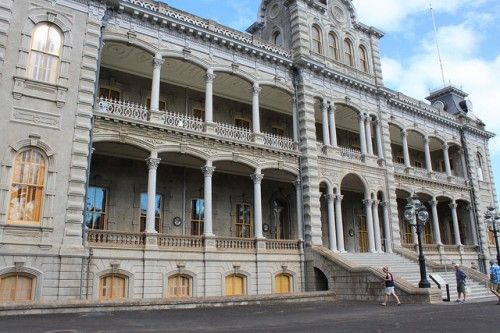 'Iolani Palace - Honolulu, Hawaii;  The only royal palace in the United States, 'Iolani Palace in Honolulu was the official residence of two monarchs, King Kal'kaua and Queen Lili'uokalani.  After the monarchy was overthrown in 1893, the building was used as the capitol building for the Provisional Government, Republic, Territory, and State of Hawaii until 1969. The palace was restored and opened to the public as a museum in 1978.