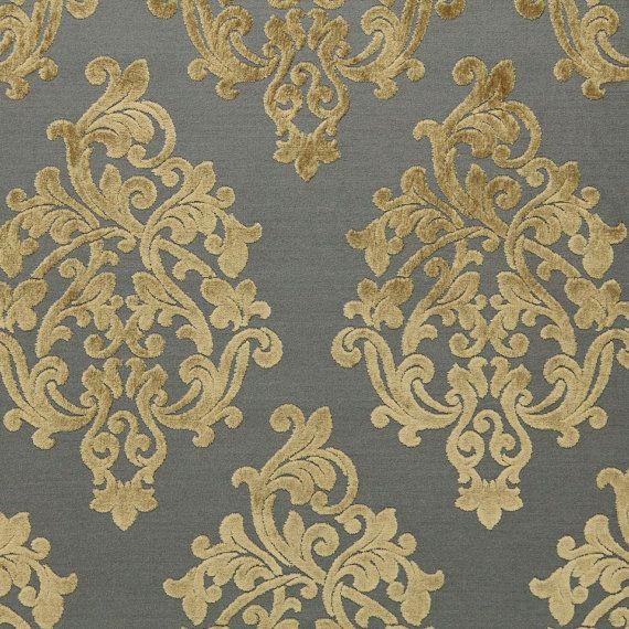 Dining chairs, Grey Velvet Damask Upholstery Fabric - Large Scale Velvet Damask Pillow Fabric - Modern Taupe Medallion Drapery - Luxury Velvet Online