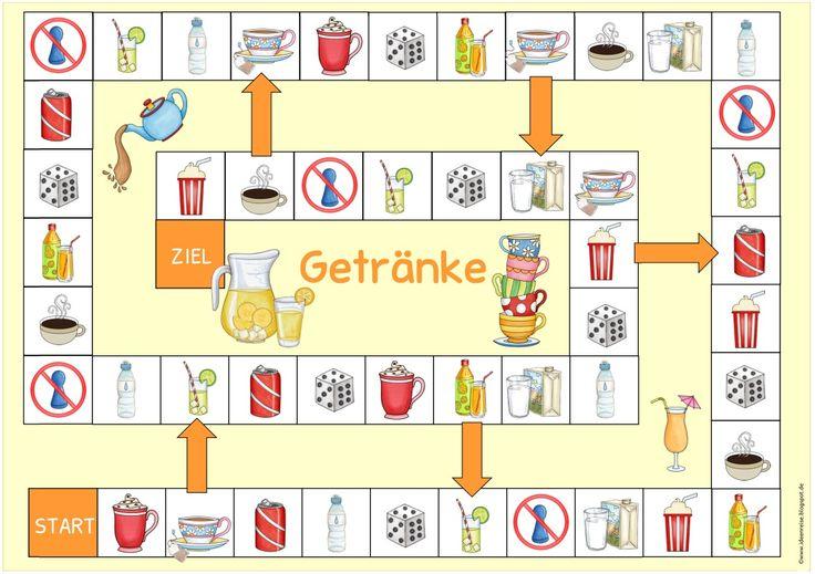 """Spielfeld mit Getränken für DaZ   Auf Wunsch habe ich das Spielfeld zum Thema """"drinks"""" nun auch für DaZ erstellt. Die Datei  enthält das Sp..."""