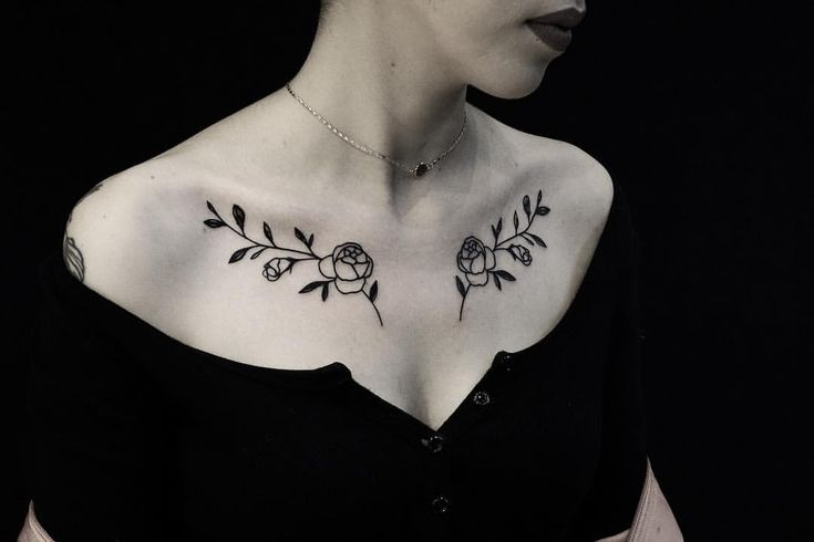 #chestpiece #floral tattoo on collarbone done by @thewolfrosario at Black Widow