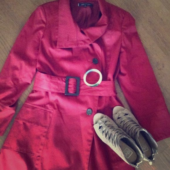 {sale}Red Trench Coat with Belt Firm Price This is a red trench coat by Anne Klein in great condition. The only flaw is the lining is a bit discolored (see photo 3). It comes with a belt that adds that polished look. Great for fall and winter. A true classic. Anne Klein Jackets & Coats Trench Coats