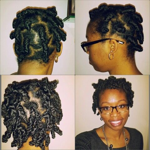 Bantu knot out: Ecosyler gel and Cantu Shea Butter Leave in conditioner