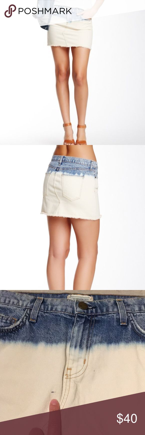 """Current Elliott """"The Cutoff Mini"""" jean skirt Current Elliott """"The Cutoff Mini"""" jean skirt in SEA SALT  Perfect for hot and hazy summers, the old-school denim starting this cutoff miniskirt is bleached down to its frayed hemline.  This is in good pre owned condition. (There is a small spot - see pic) besides that great, zipper is working.   Size tag was ripped out, so please reference measurements to ensure proper fit. I THINK it's a 30-31 (waist laying flat 17"""")  Zip fly + button closure 5…"""