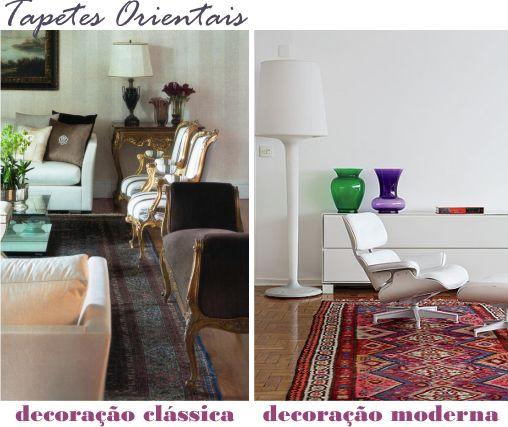 persa; tapetes orientais podem combinar com uma decor mais clássica e até mesmo mais moderna