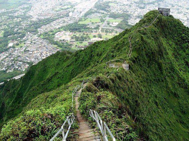 Хайку – лестница в небеса на острове Оаху, Гавайи #отпуск #отдых #туристическийжурнал