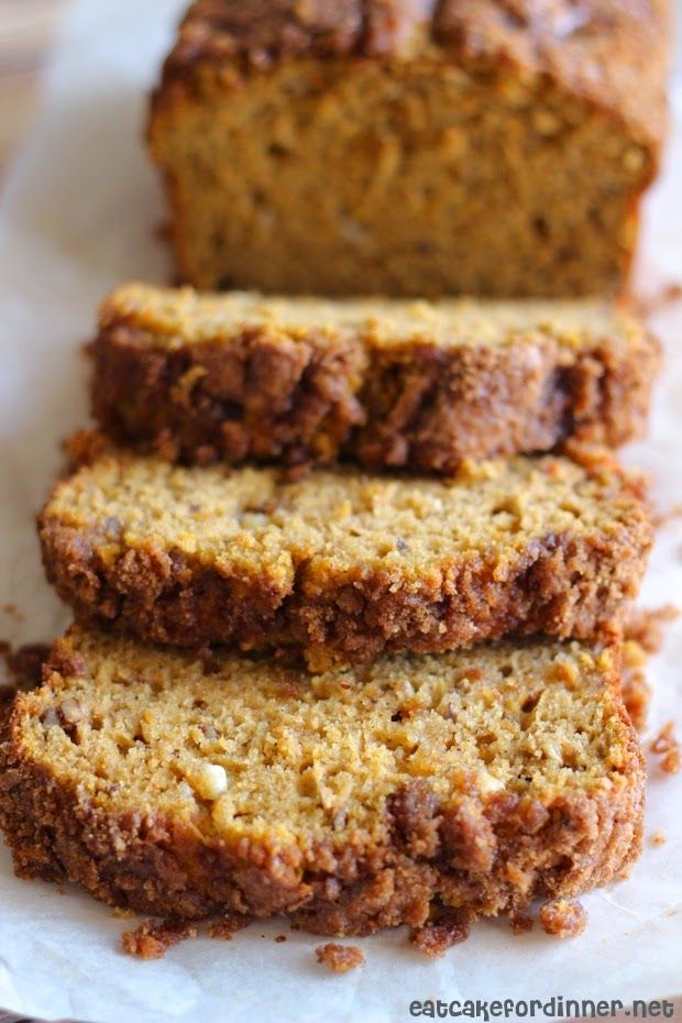 Eat Cake For Dinner: White Chocolate Pumpkin Bread with Crunchy Streusel Topping