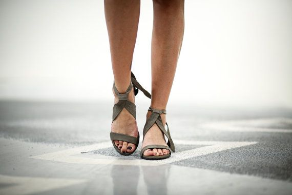 New! Leather Sandals, Grey Heels Sandals, Handmade Sandals, Grey Summer Shoes, Strappy Sandals, Women Shoes, Tie Sandals, Isabelle