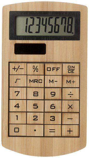 Calculadora de bambú ecológica de 8 dígitos.  Alimentación por placa solar.  Material: Bambú.  Medidas: 13,60 x 1 x 7,60 cms.  Embalaje individual: Caja cartón  Precio unitario: Desde 7,67€  #calculadora #bambú #oficina