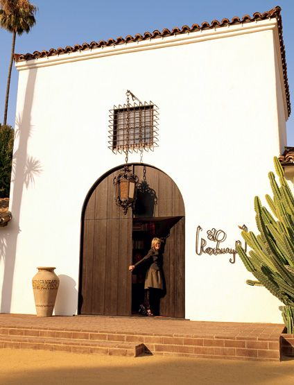 Diane Keaton at the door of her Spanish Colonial Revival mansion in Beverly Hills.
