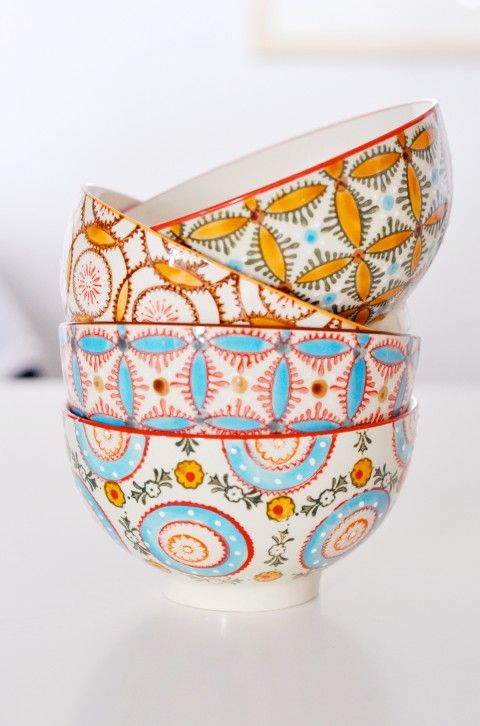 Love the bottom bowl - Sister - where were these when we were in Positano??? Hand painted ceramic bowls from Positano, Amalfi