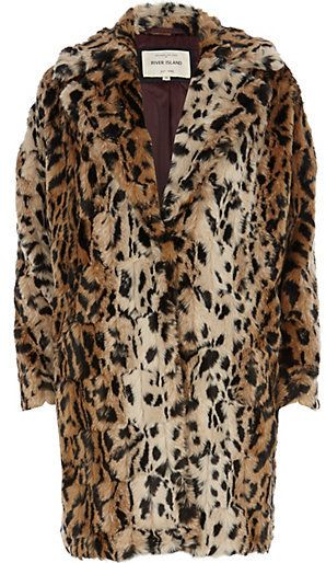 $200, River Island Brown Leopard Print Faux Fur Oversized Coat. Sold by River Island. Click for more info: https://lookastic.com/women/shop_items/100478/redirect