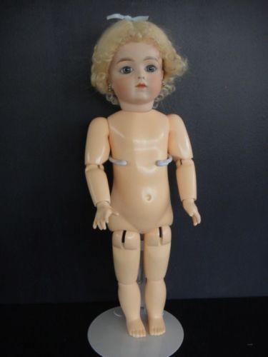 Античный французский суп-БРУ-размножение-кукла-14-034-синий-серый-глаз-с-Г-BRAVOT