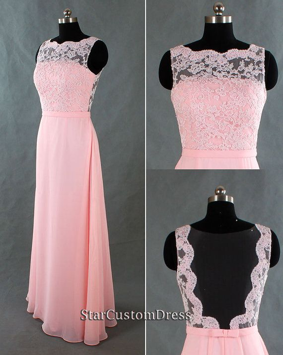 Bridesmaids dress, but in a different colour, Long Lace Bridesmaid Dress Pink Long Chiffon by StarCustomDress