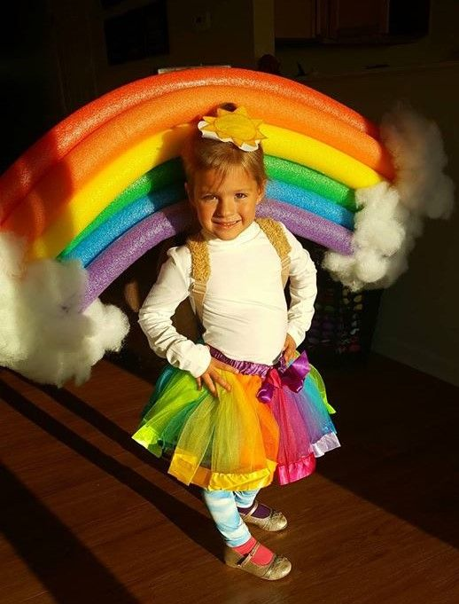 DIY RAINBOW COSTUME, cute toddler kids baby Halloween costumes, easy costume ideas, fun costume rainbow unicorn ideas